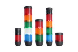 Signalsäulen in verschiedenen Farben und mit akustischem Signalgeber