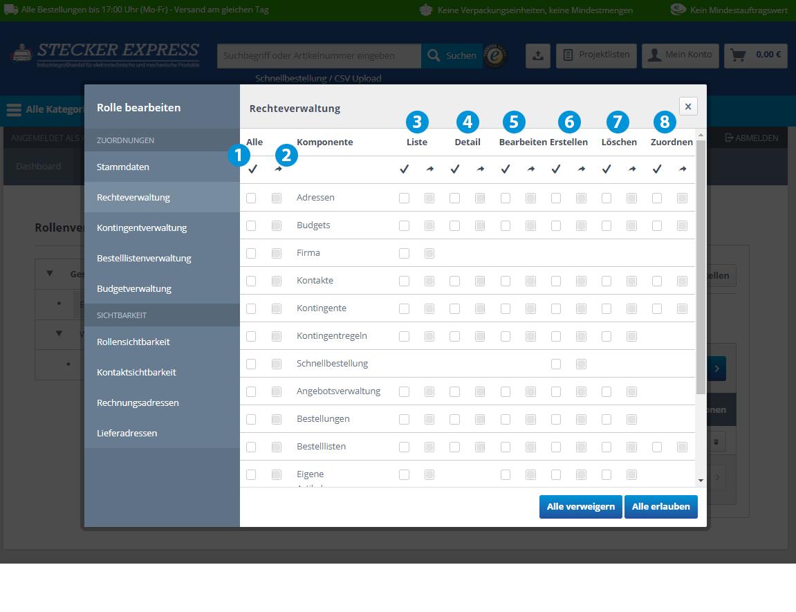 Kundenkonto Firma Rechteverwaltung