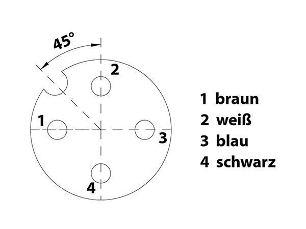 Polbild: M12 Sensorleitung 4 polig Buchse gerade mit A-Kodierung