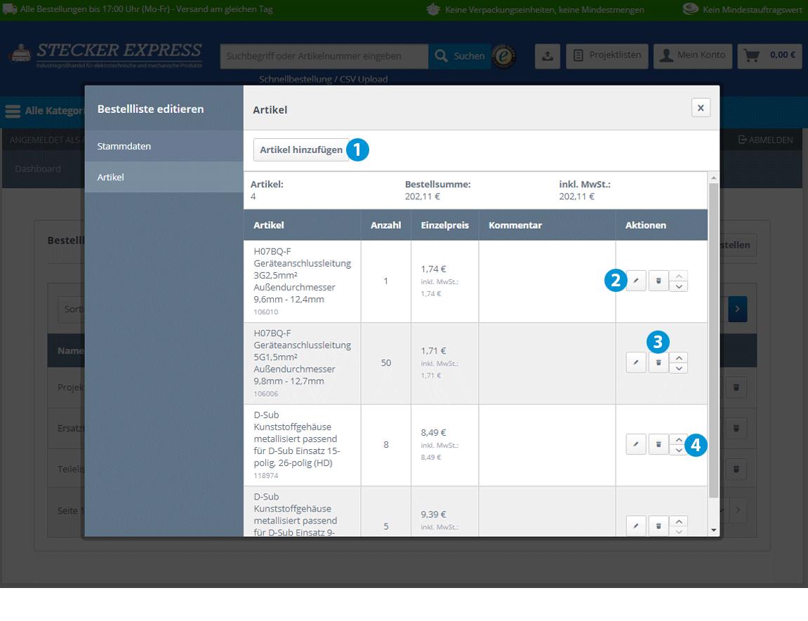 Kundenkonto Bestelllisten bearbeiten