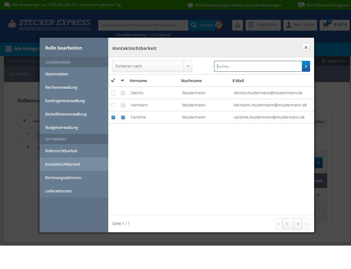 Kundenkonto Firma Kontaktsichtbarkeit