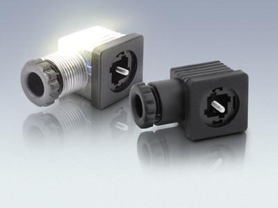 Ventilsteckverbinder mit und ohne LED