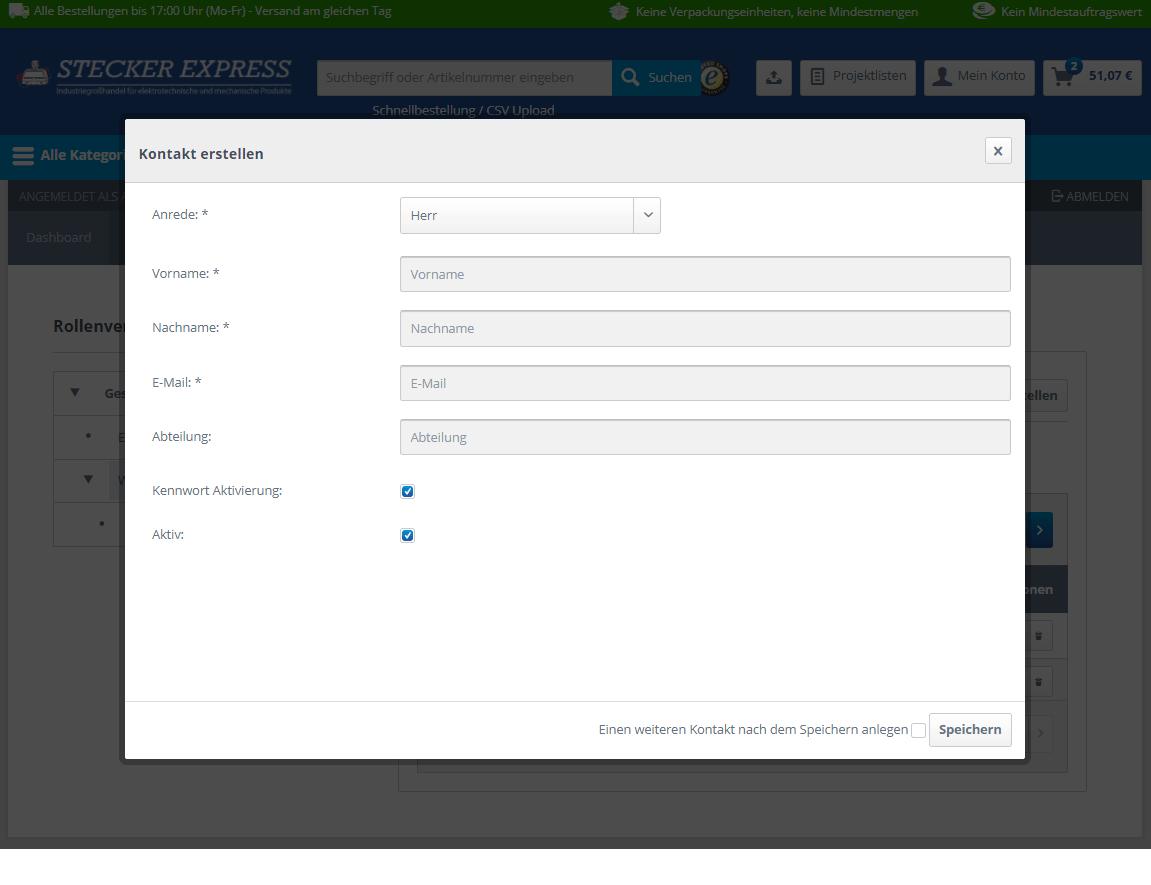 Kundenkonto Firma Kontakte erstellen