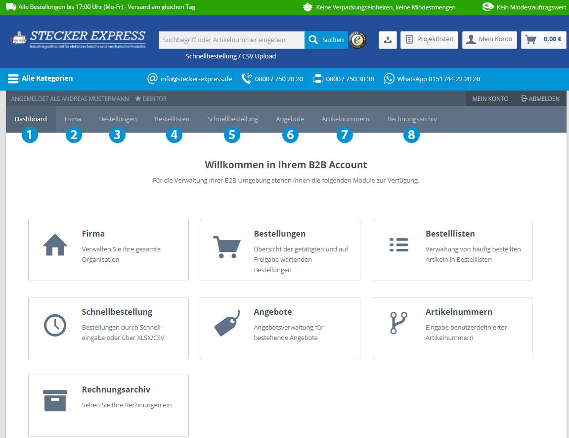 Kundenkonto-Dashboard